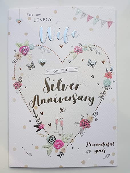 for my wife on our silver 25th wedding anniversary card icg amazon