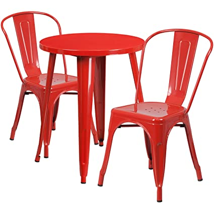 Flash Furniture 24 Round Red Metal Indoor Outdoor Table Set With 2 Cafe Chairs