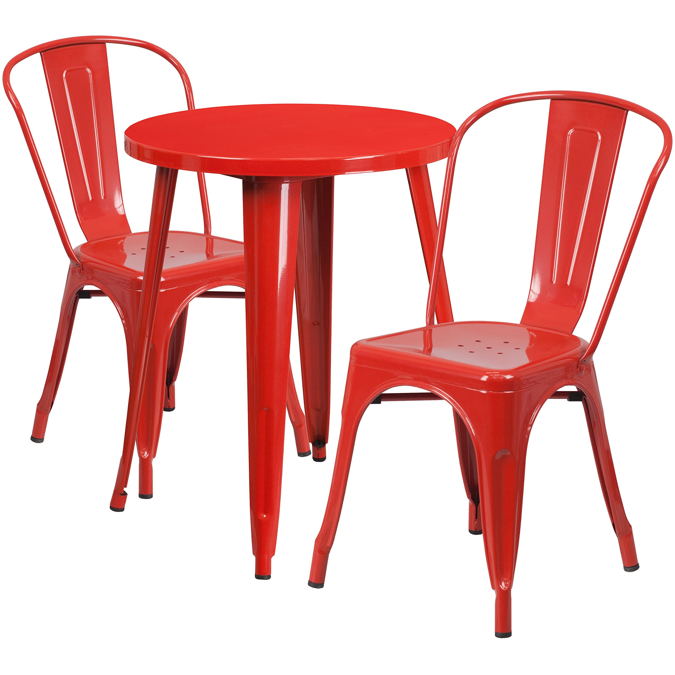 Flash Furniture 24'' Round Red Metal Indoor-Outdoor Table Set with 2 Cafe Chairs