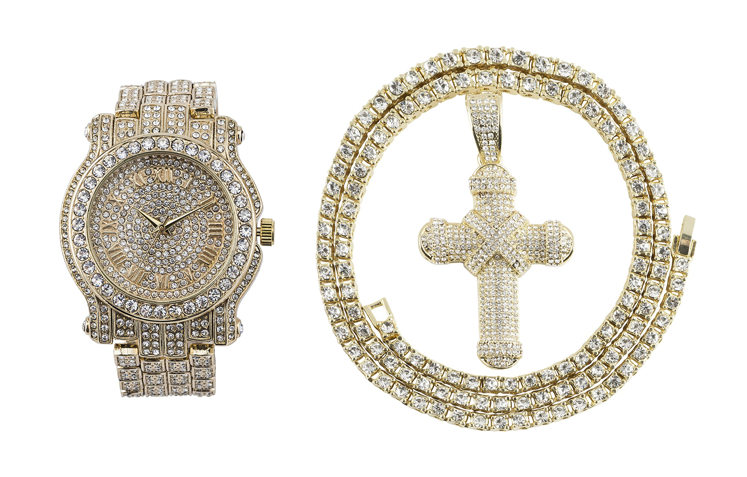 Iced Out Metal Band Bling Watch & Cross Pendant with Matching 24 inch One Row Tennis Necklace Gift Set (Gold)