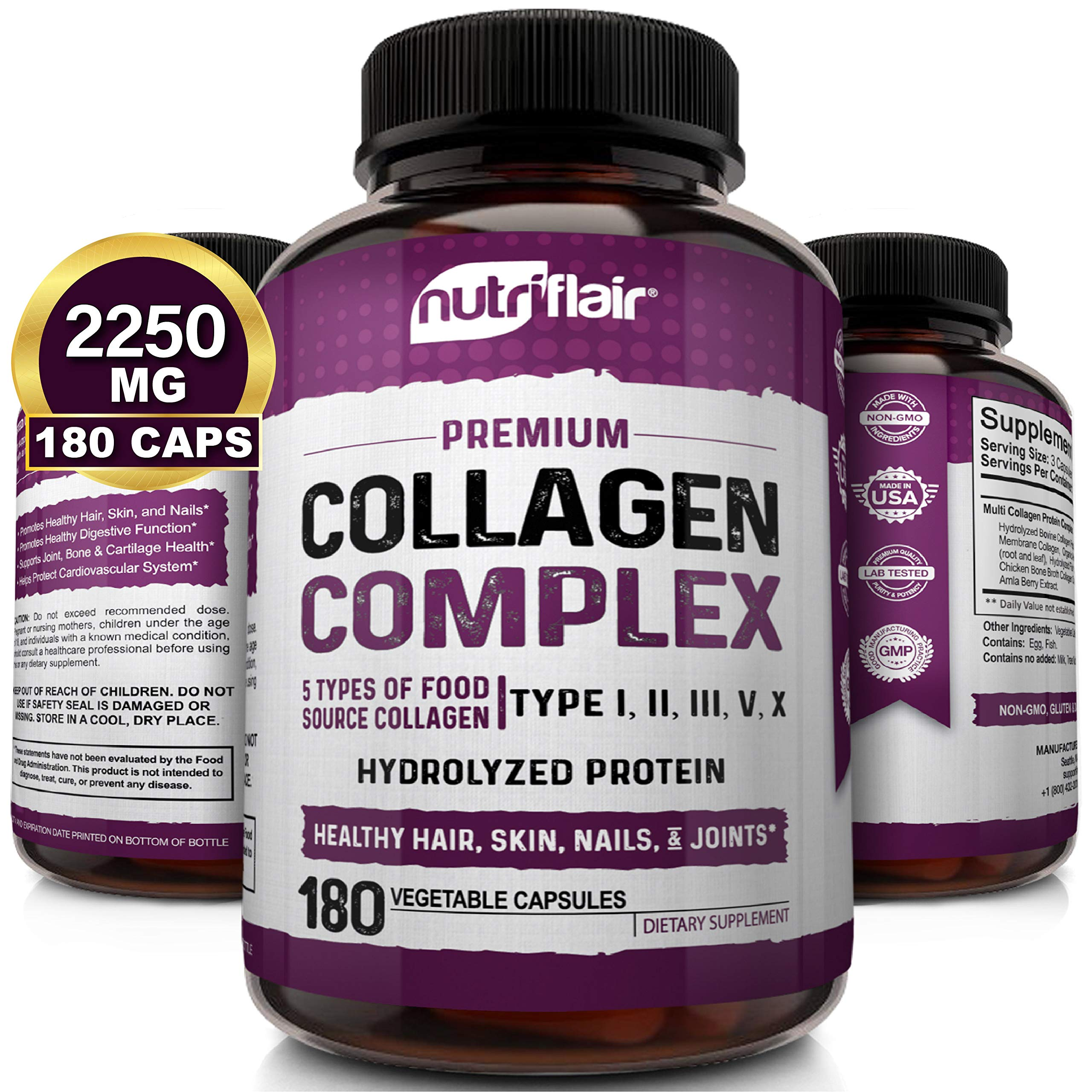 NutriFlair Multi Collagen Peptides Pills 2250MG, 180 Capsules - Type I, II, III, V, X - Premium Collagen Complex - Hydrolyzed Protein Supplement for Anti-Aging, Healthy Joints, Hair, Skin, and Nails