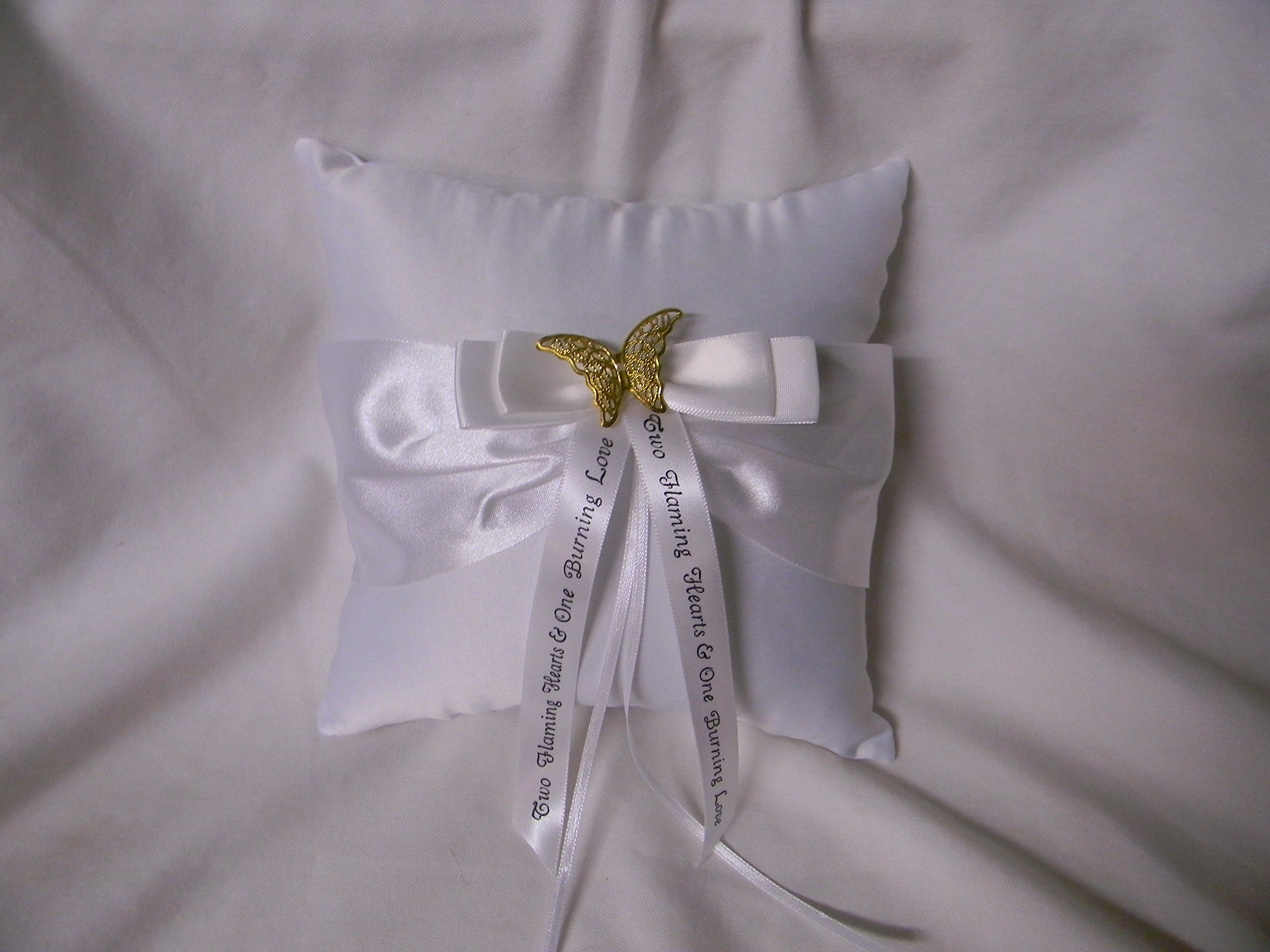 Wedding ceremony Party Ring bearer Pillow Gold Butterfly with Message Ribbon