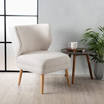 Brilliant Christopher Knight Home Dumont Mid Century Modern Fabric Accent Chair Beige Cjindustries Chair Design For Home Cjindustriesco