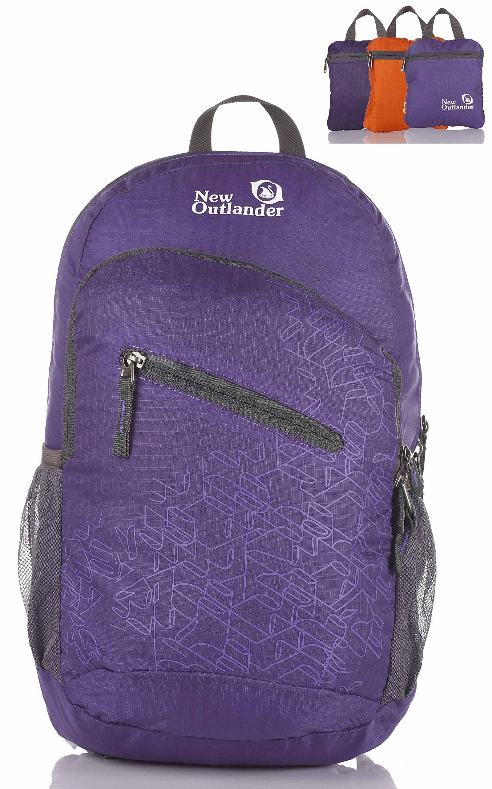 Outlander Packable Handy Lightweight Travel Hiking Backpack Daypack-Purple-L