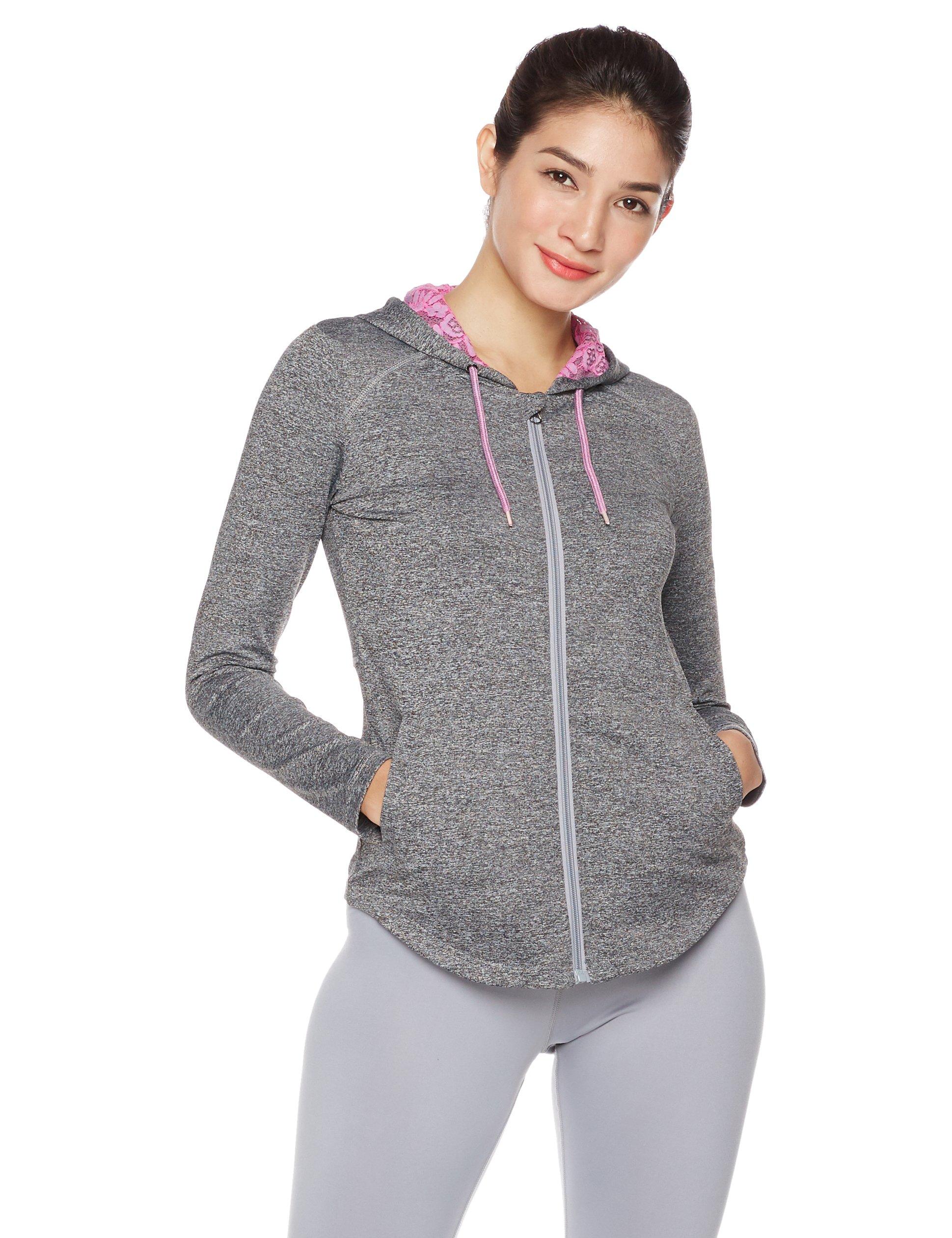 Mint Lilac Women's Performance Lightweight Full Zip Hoodie Small Dark Gray