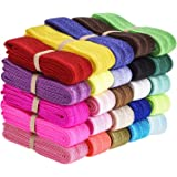 eBoot 25 Pieces Elastic Stretch Foldover Elastics Hair Ties Headbands, 25 Colors, 38 Inches by 3/ 5 Inch