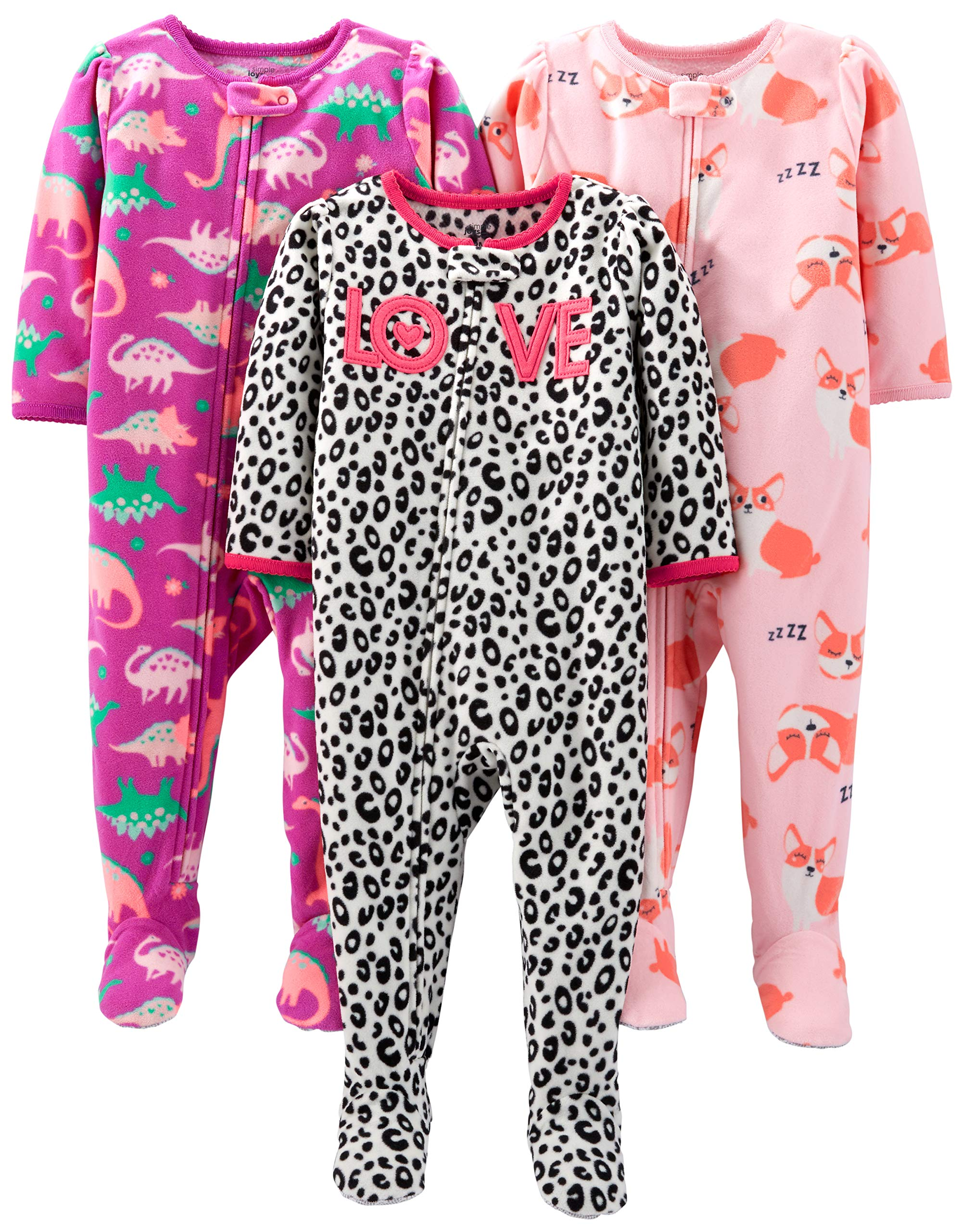 Simple Joys by Carter's Girls' Toddler 3-Pack Loose Fit Flame Resistant Fleece Footed Pajamas, Fox/Dino/Leopard Print 3T
