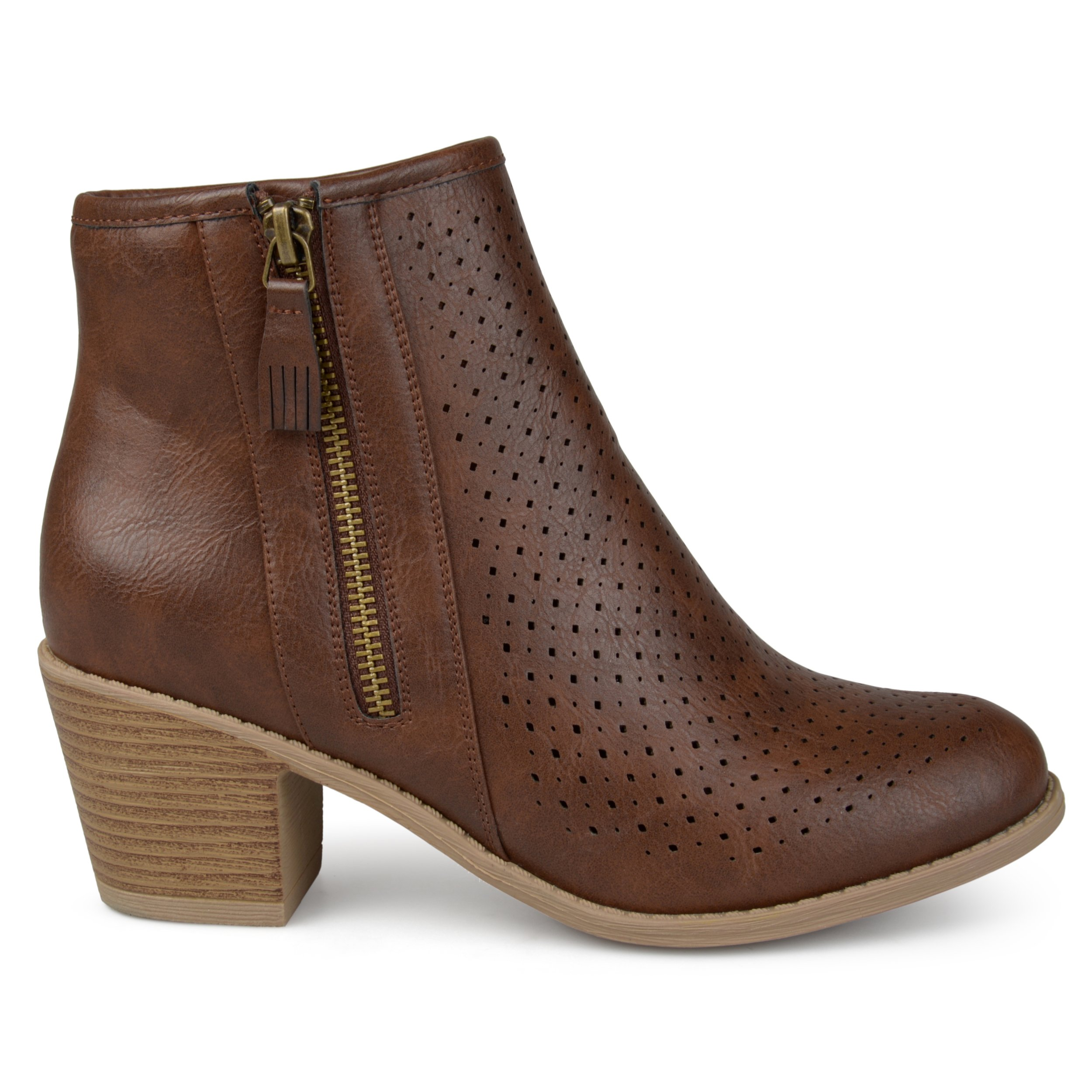 Brinley Co. Womens Malak Faux Leather Faux Wood Comfort-Sole Stacked Heel Laser-Cut Booties Brown, 7.5 Regular US