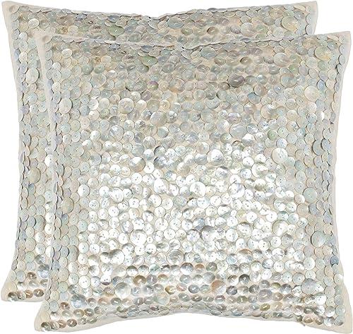 Safavieh Pillows Collection Dialia Throw Pillows Set of 2 , 22 x 22 , Silver