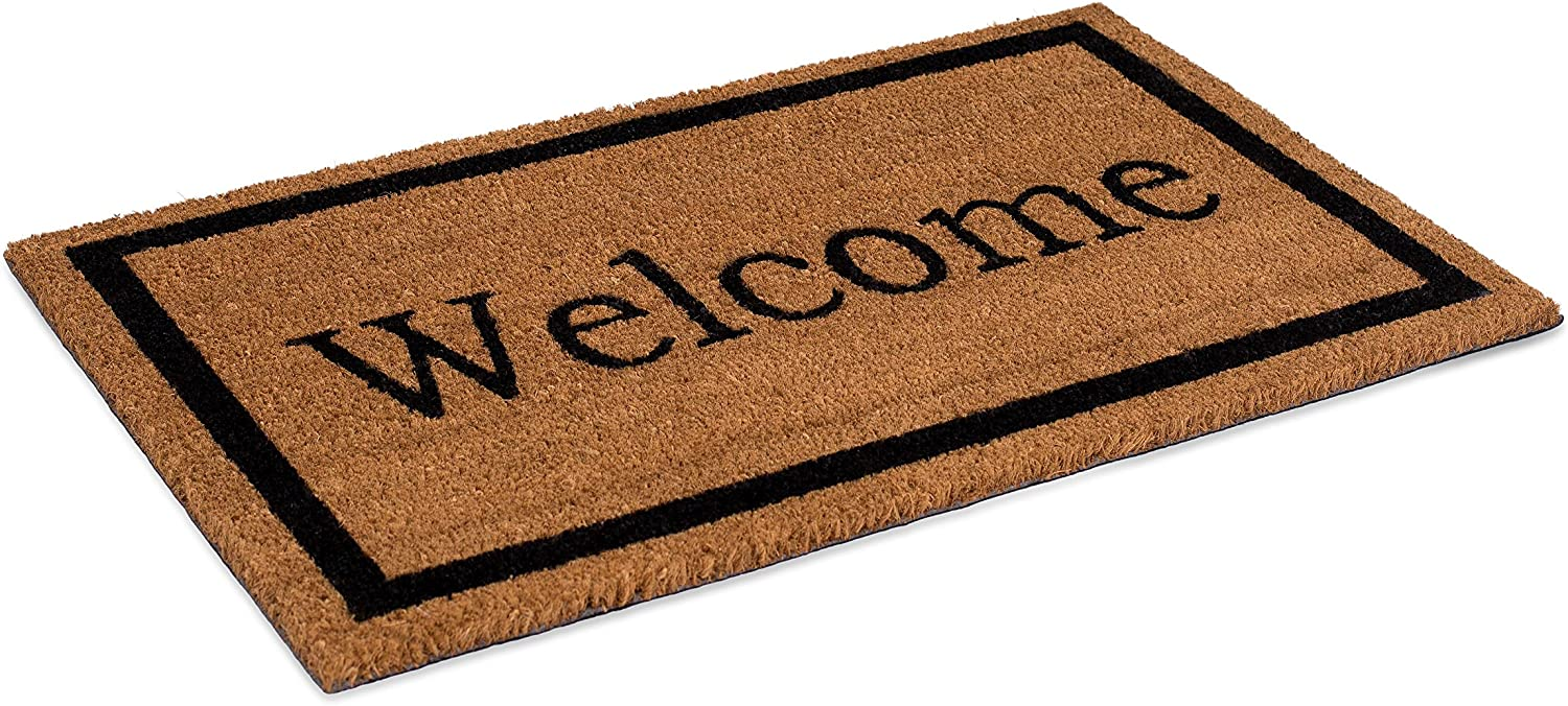 BIRDROCK HOME Welcome Coir Doormat - 18 x 30 Inch - Standard Welcome Mat with Black Border and Natural Fade - Vinyl Backed - Outdoor