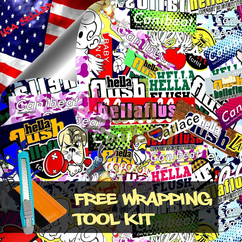 ツールキット付きSTB JDM Stickerbomb アニメ グラフィティー 漫画 車 自動車 ラップトップビニールラップステッカーフィルムシート 60