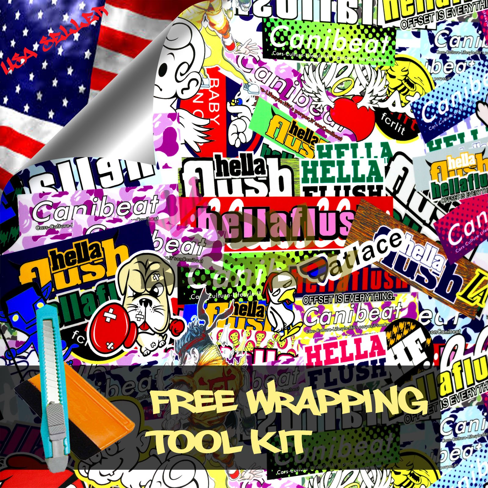 Free Tool Kit STB JDM Bomber Anime Graffiti Cartoon Car Auto Laptop Vinyl Wrap Sticker Decal Film Sheet - 60''X600''