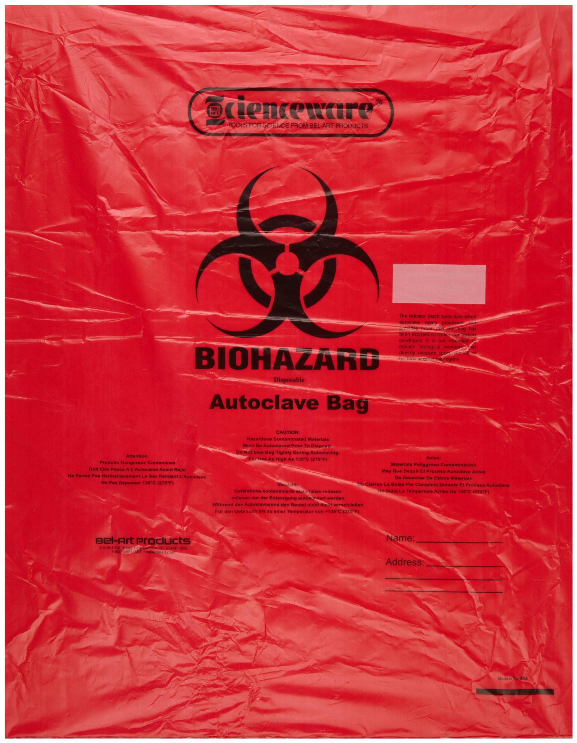 Bel-Art F13165-1923 Polypropylene 6-9 Gallon Super Strength Red Biohazard Disposal Bags with Warning Label/Sterilization Indicator, 19W x 23 in. H, 2.0mil Thick (Pack of 200)