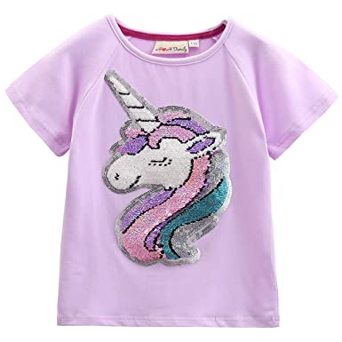9dfe5c03 Unicorn Flip Heart Sequin Girl's T-Shirt Short/Long Sleeve 3-12 Years