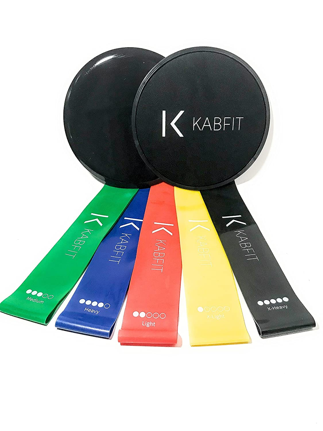 Kabfit Gliding Disc Core Sliders and 5 Exercise Resistance Loop Bands, Double-sided Sliding Discs, Resistance Bands for Intense, Low-Impact Exercises, Strengthen Core, Glutes, Abs Fitness, Therapy