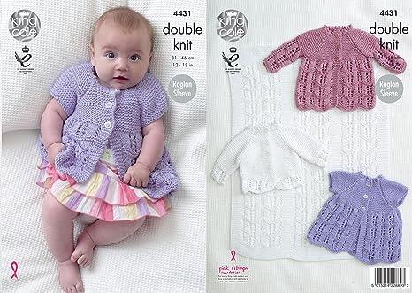 King Cole manta para bebé 4431 patrón para tejer, matiné abrigos y chaqueta en Cottonsoft