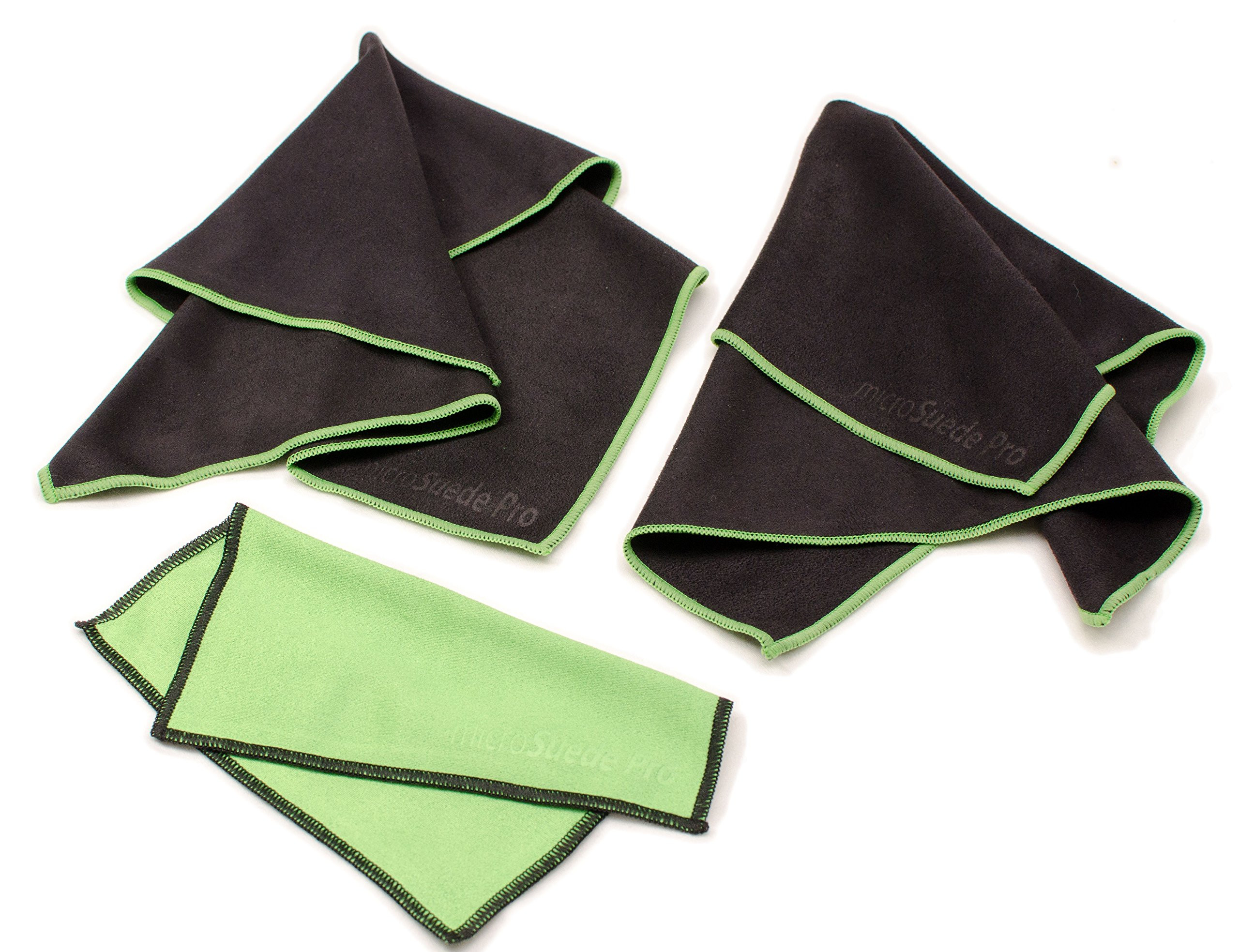 (Large 3-pack) Premium Microfiber Cleaning Cloth For Glass, Camera Lenses, Phones, Tablets, Flat Screen TVs (2 Large Black, 1 Small Green) - 12''x12'' by microSuede Pro