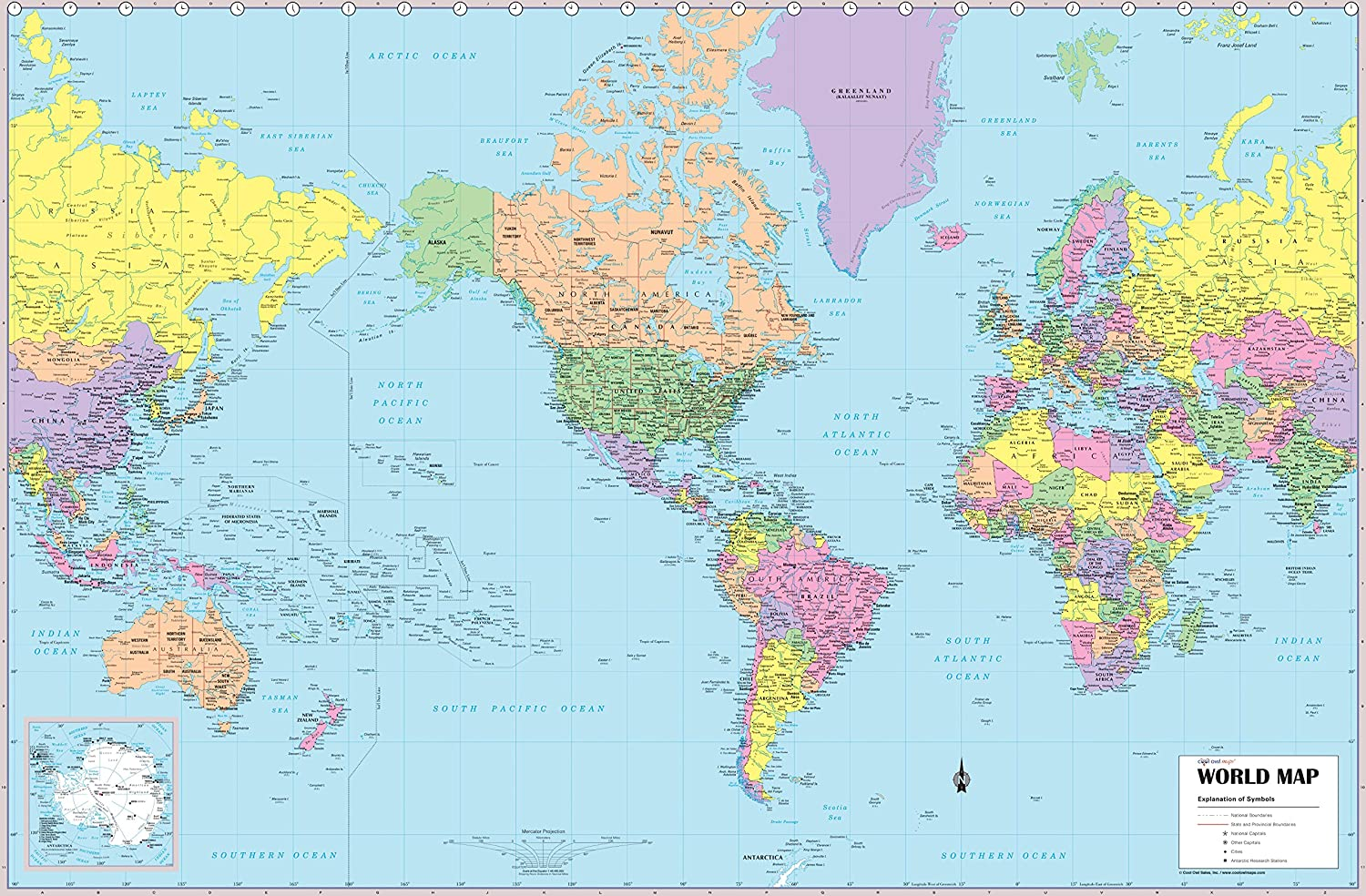 Amazon.com : CoolOwlMaps 2017 World Wall Map, United States ...