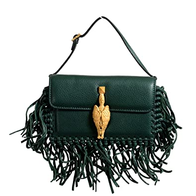 73ee050d8 Image Unavailable. Image not available for. Color: Valentino Garavani  Women's 100% Leather Fringe Green Griffin Handbag Clutch Bag