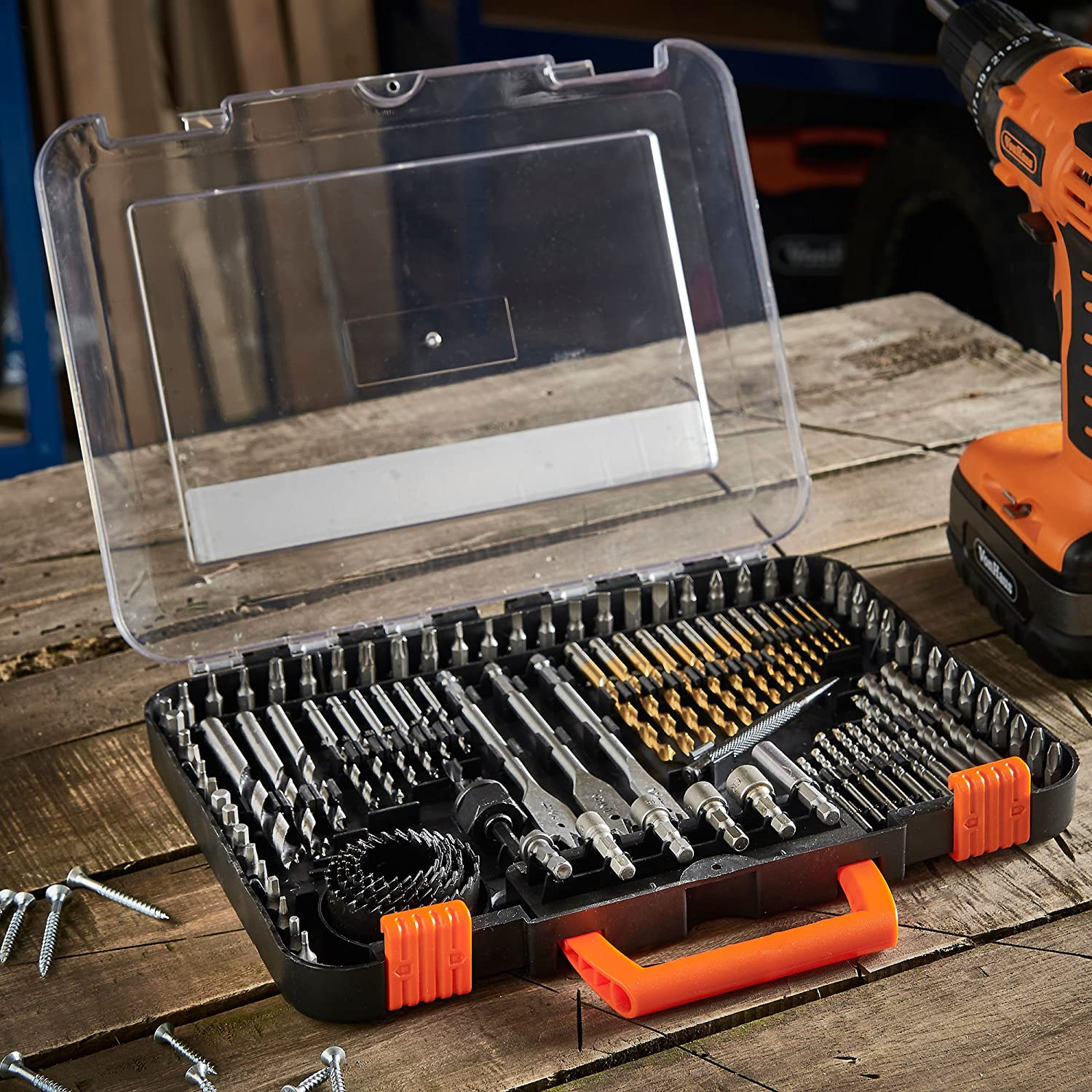 VonHaus 100-Piece Drill and Drive Bit Set with Titanium Coated HSS Bits and Storage Case for Drilling Metal Wood Masonry and Plastic