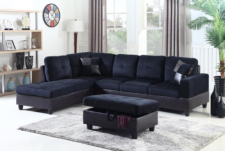 Enjoyable Amazon Com Lifestyle 3 Piece Diana Left Facing Sectional Beatyapartments Chair Design Images Beatyapartmentscom