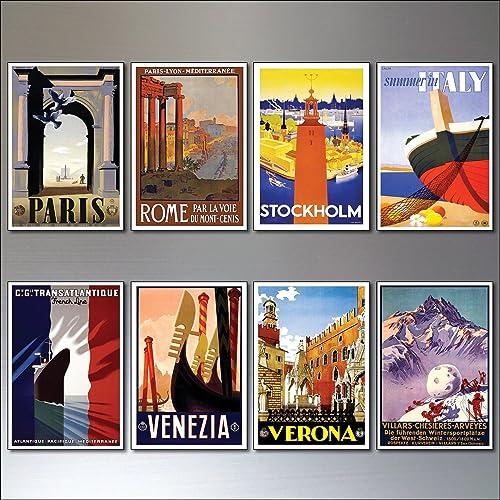 Amazon com: 8 Vintage Travel Posters Fridge Magnets from Art