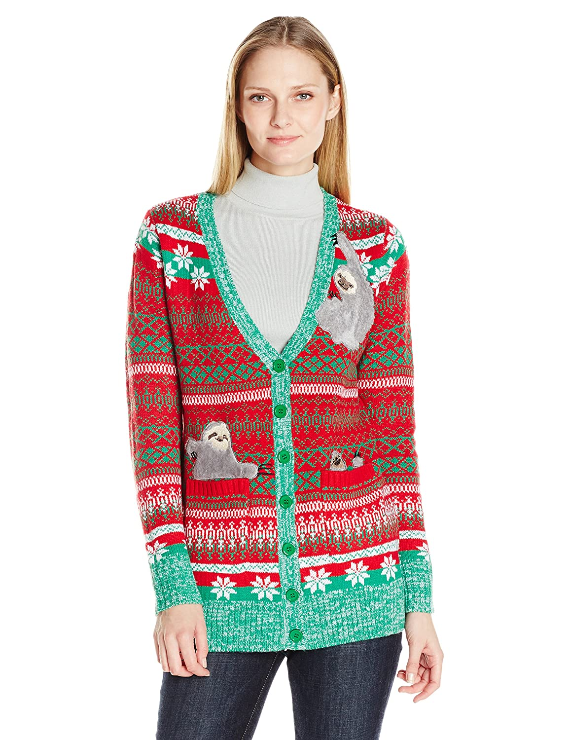 Blizzard Bay Women's Sloth Cardigan Ugly Christmas Sweater at ...