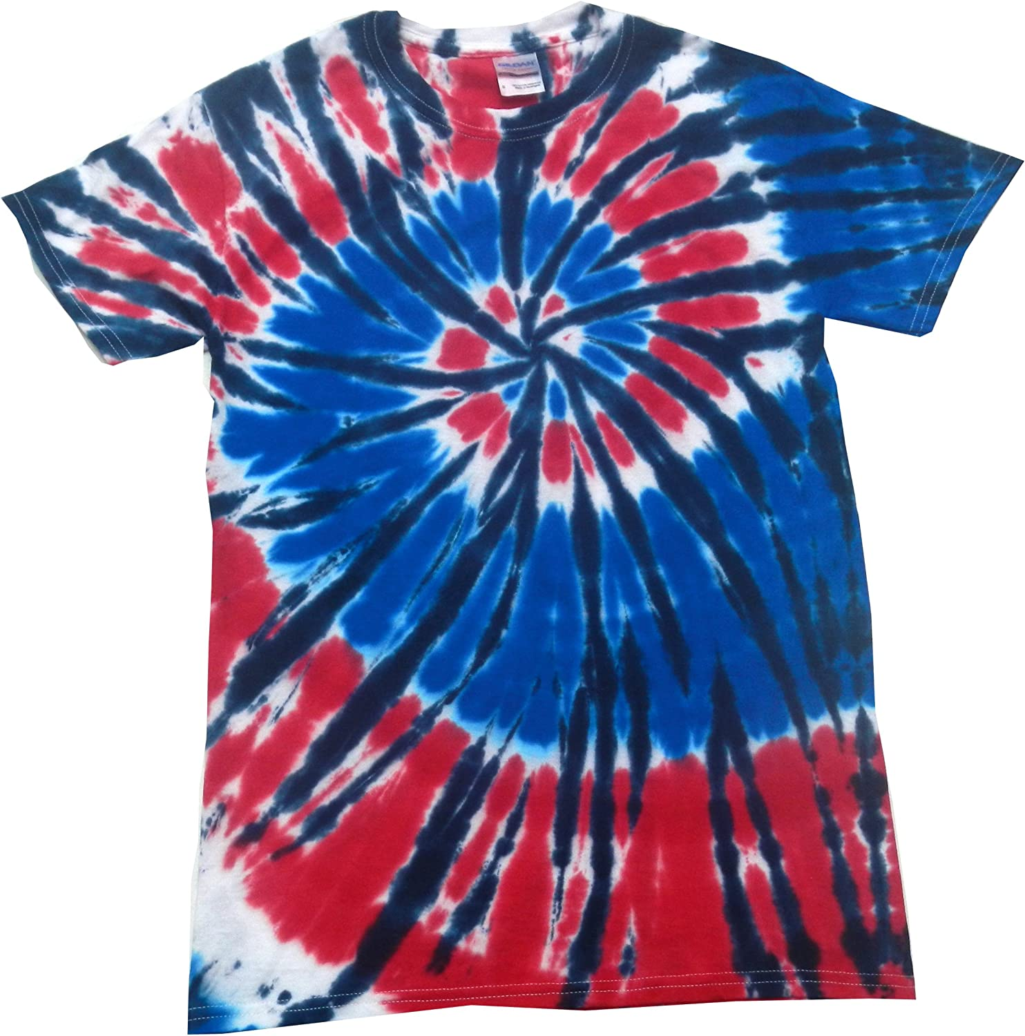 Medium Tie Dye Long Sleeve Button Down Collar Shirt American Eagle Outfitters Spiral Swirl Red White Blue Patriot Independence Murica
