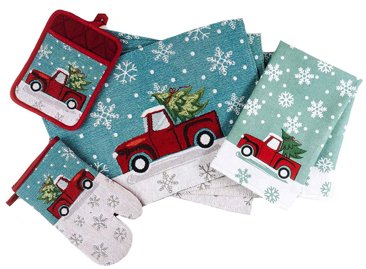 CraftMore Red Truck Gift Set 4 Placemats 1 Towel 1 Pot Holder and 1 Oven Mitt
