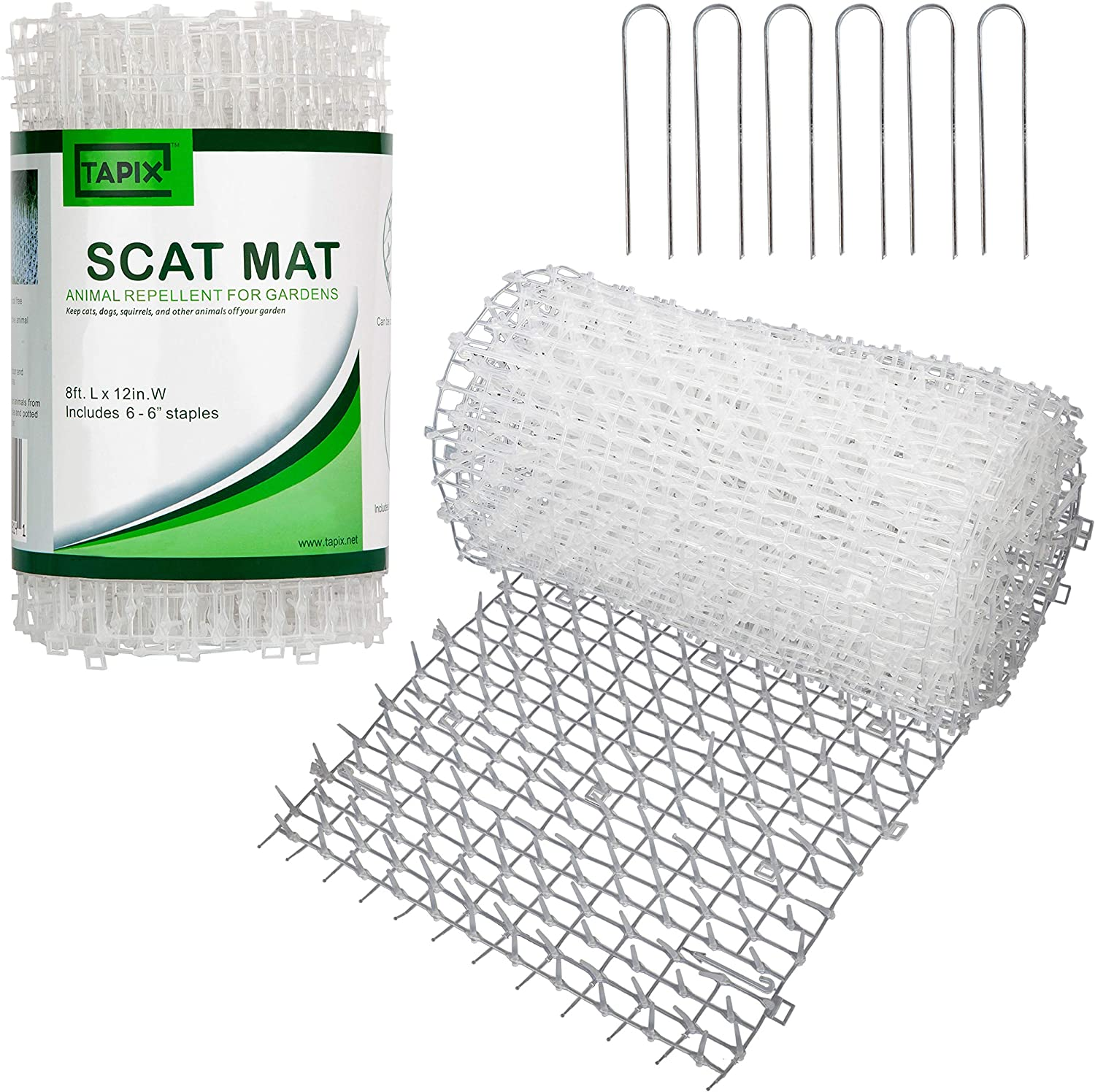 Tapix Cat Scat Mat Clear Anti-cat Network with Spikes Digging Stopper - Cat Deterrent Mat for Indoor and Outdoor 8 feet x 12 feet with 6 Staples