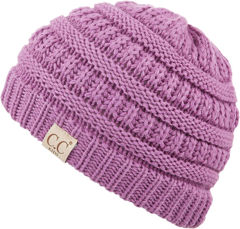 C.C Hatsandscarf Kids Beanie Ages 2-7 Warm Chunky Thick Stretchy Knit Slouch Beanie Skull Hats (YJ-847-KIDS)