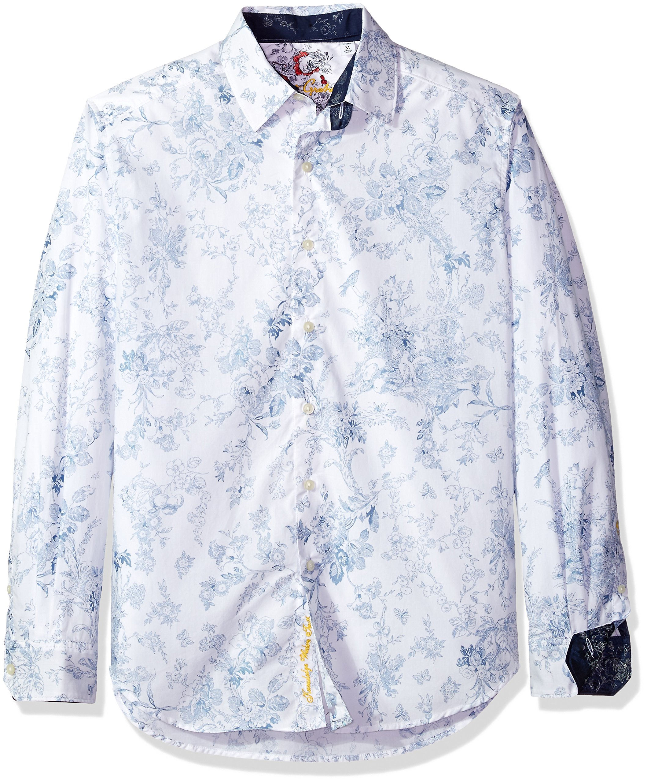 Robert Graham Men's Rider Classic Fit Cotton Sport Shirt, White, XLarge