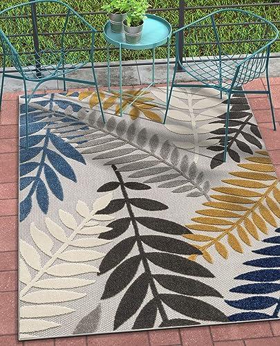 Well Woven Dorado Mariah Grey Modern Tropical Leaves 7 10 x 9 10 High-Low Indoor Outdoor Area Rug