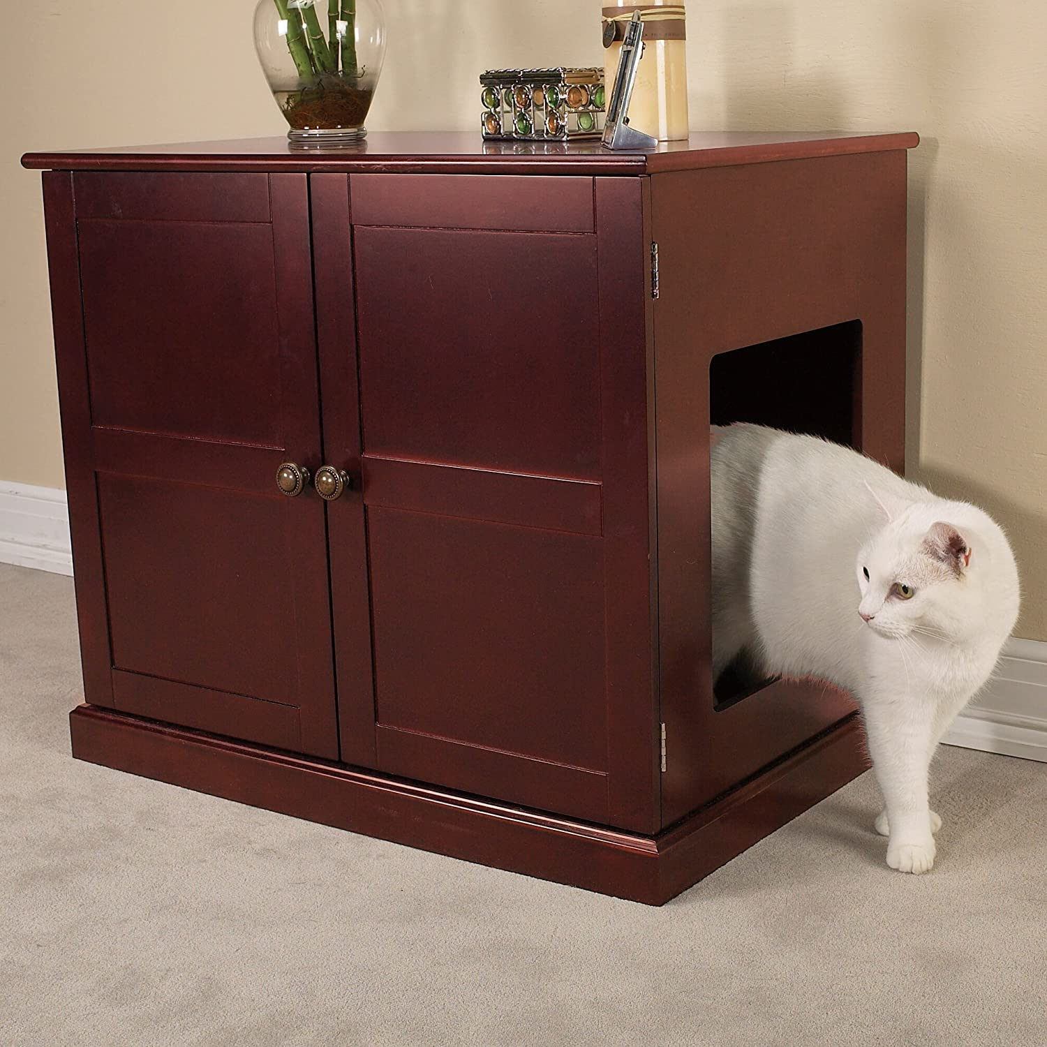 Awesome Amazon.com : Meow Town Concord Cat Litter Cabinet, Mahogany Finished Cat  Litter Concealer : Pet Supplies
