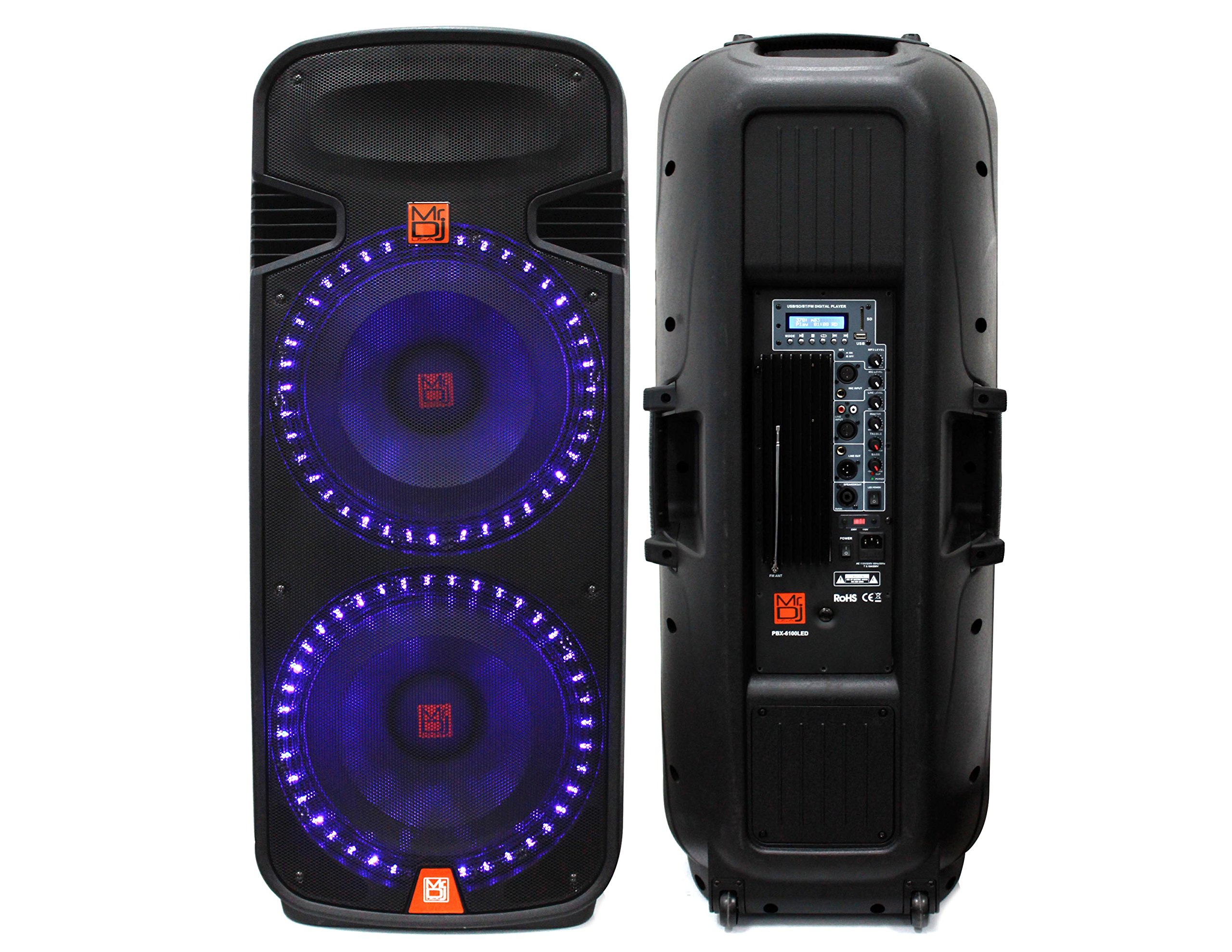 Mr. Dj PBX6100LED Dual 15-Inch 3-Way Portable Speaker with Built-In LED Light, Bluetooth, USB and FM Radio