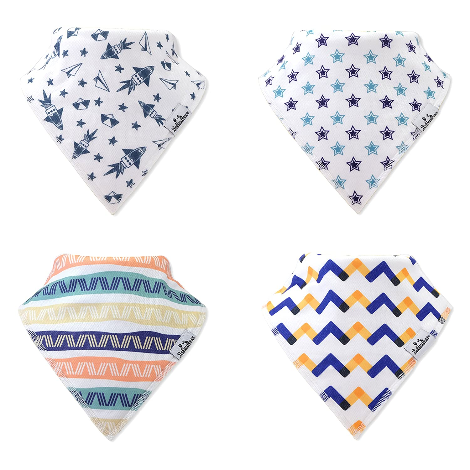 BabiesAmour 4 Pack Bandana Baby Boy and Girl Bibs (Style 16) - Extra Soft and Quickly Dry Burp, Eating and Drool Bib for Newborn, Infant and Toddler - Food Catcher, Teething and Led Weaning Cloths