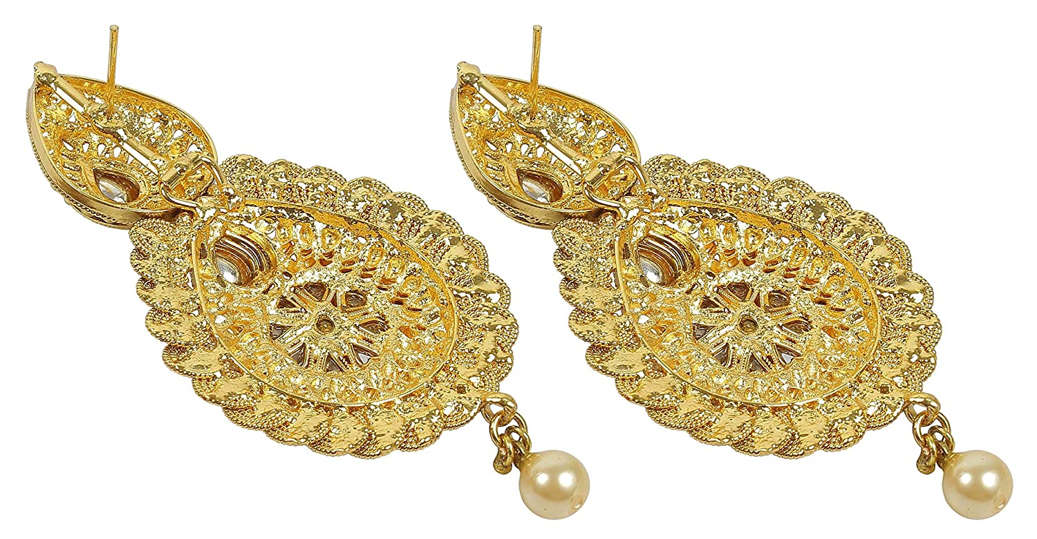 MUCH-MORE ER-7327//7041//7091 Antique Traditional Indian Polki Jhumka//Earring Bollywood Wedding Jewelry for Women