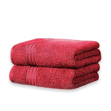 restmor Knightsbridge Set de 2 Toallas de Baño Extra-Grandes de 100% Algodón Egipcio Peinado 500g/m2 Rojo: Amazon.es: Hogar