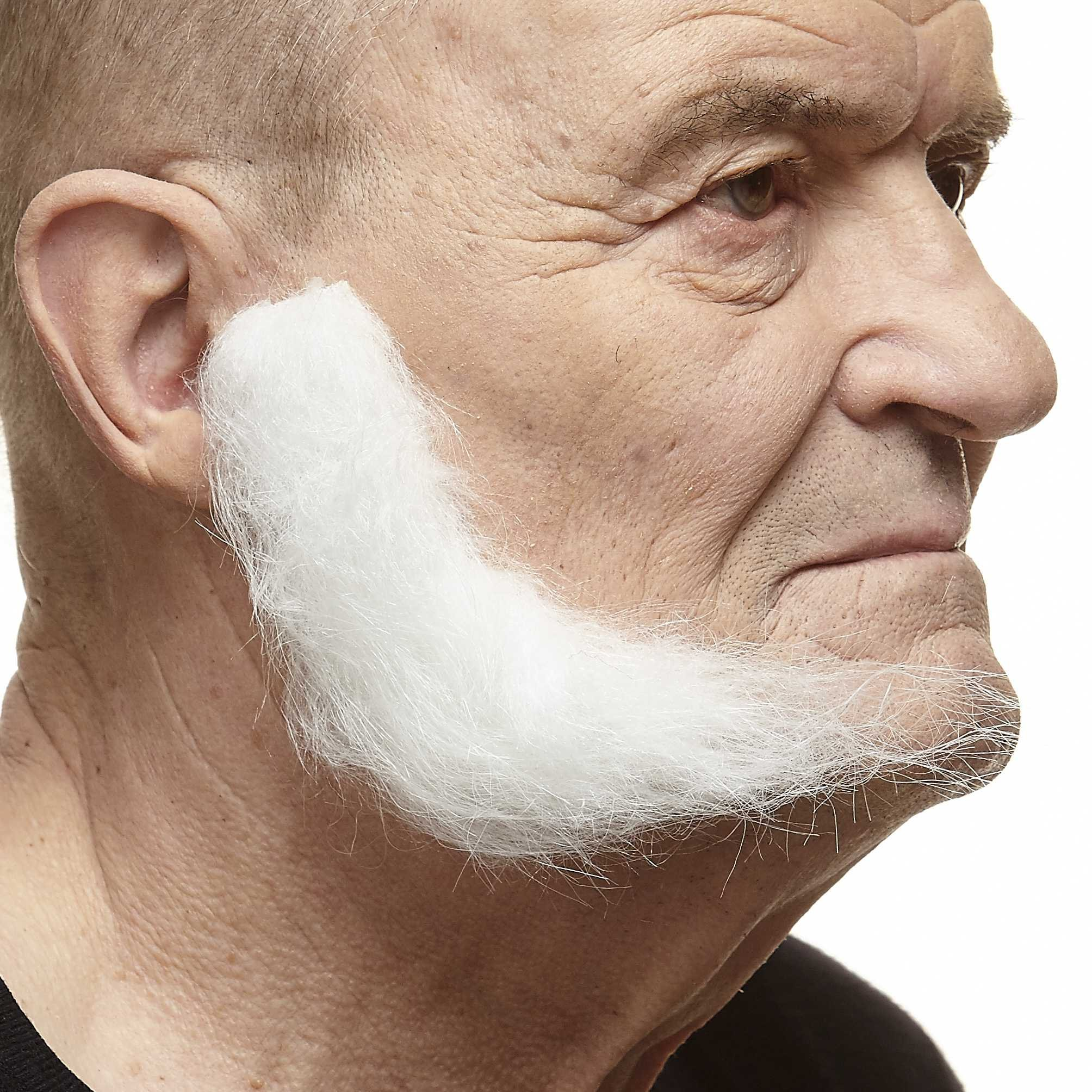 Mustaches Self Adhesive, Novelty, Realistic, Fake, L Shaped Mutton Chops Sideburns, White Color