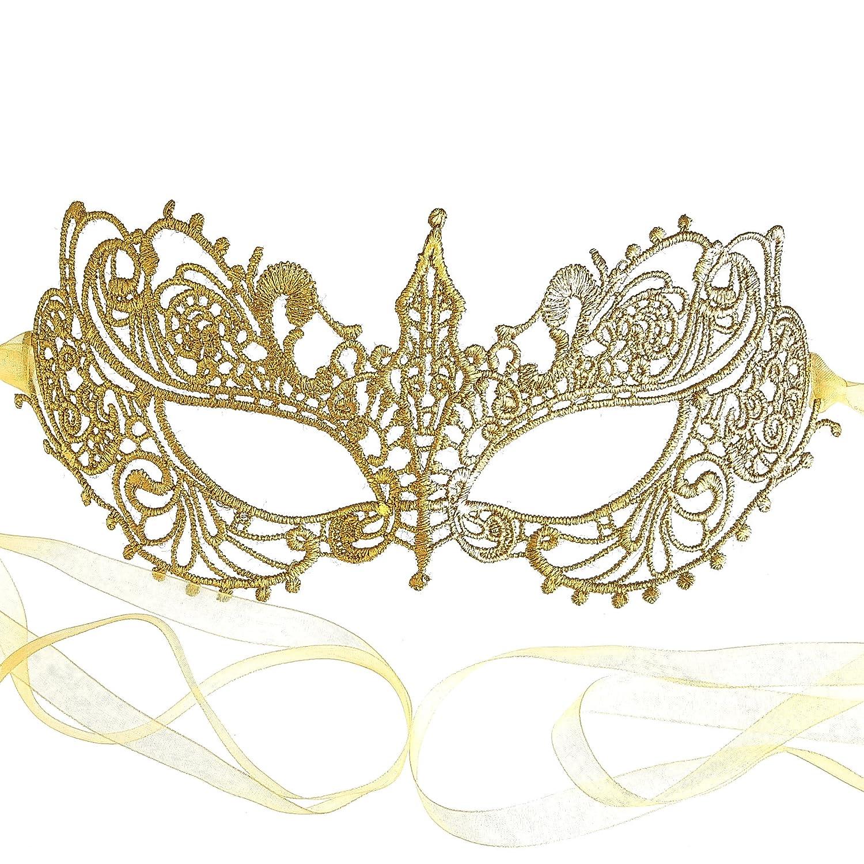 Gorgeous Gold Lace Goddess Masquerade Mask By Samantha Peach by Samantha Peach