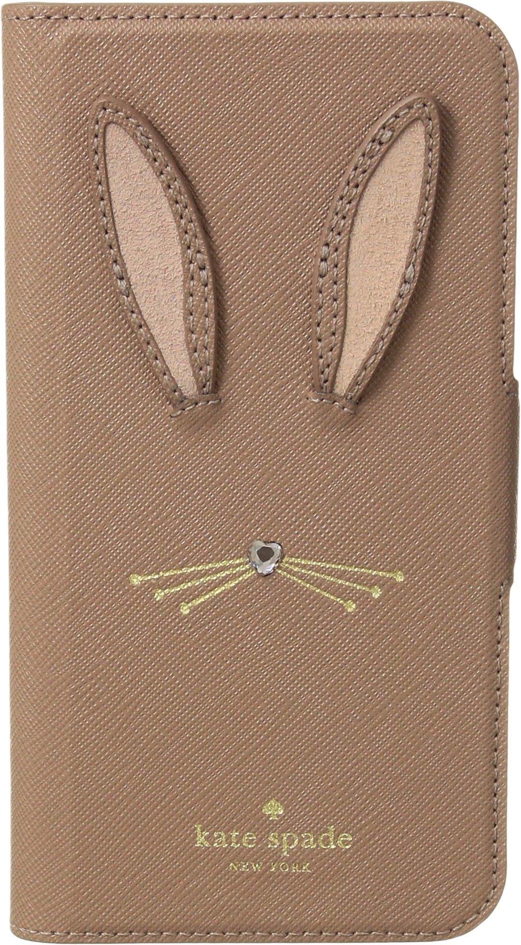 Kate Spade New York Women's Rabbit Applique Folio Phone Case for iPhone X Tan Multi One Size
