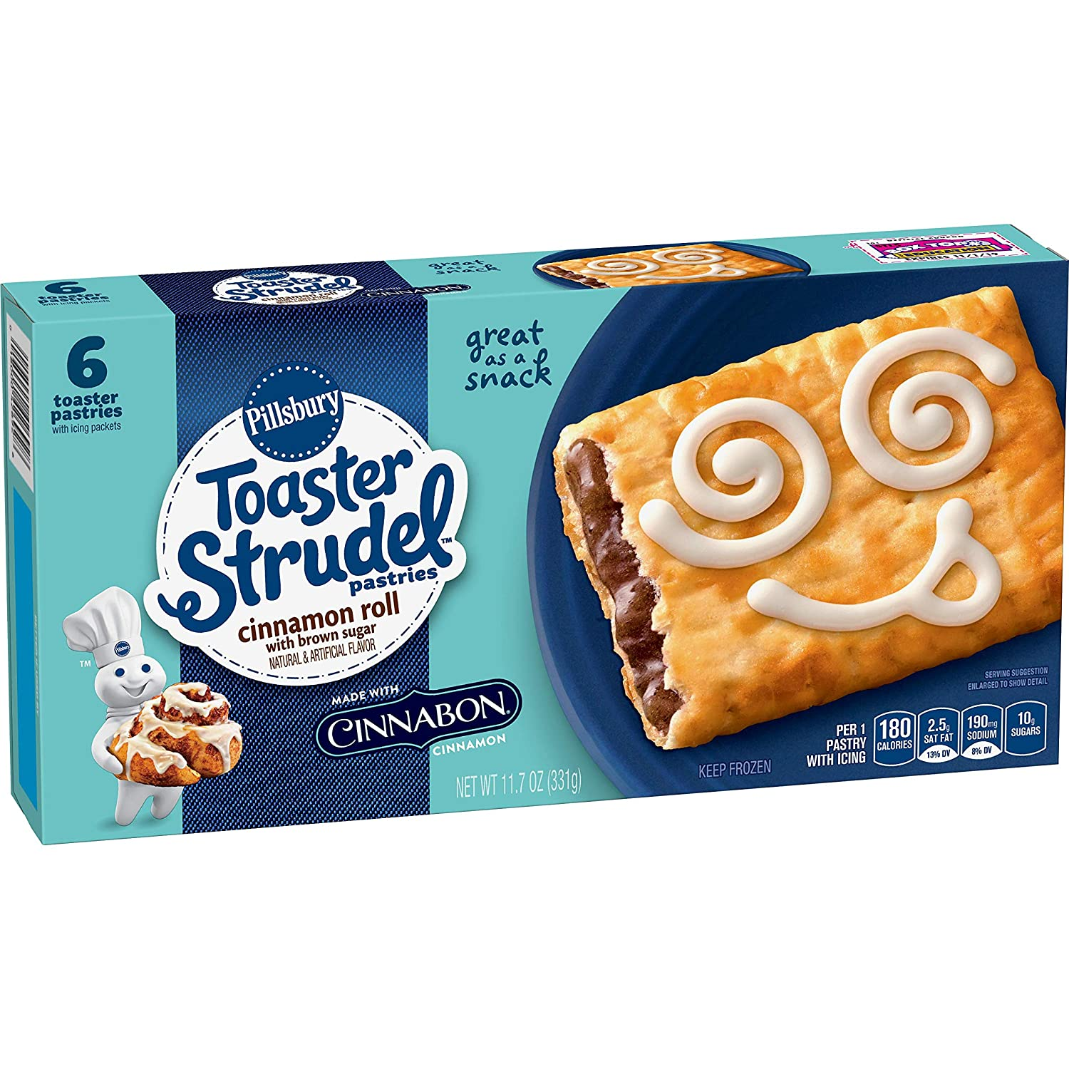 Pillsbury Toaster Strudel, Cinnamon Roll with Cinnabon Cinnamon, 6 Frozen Pastries, 11.5 oz. Box