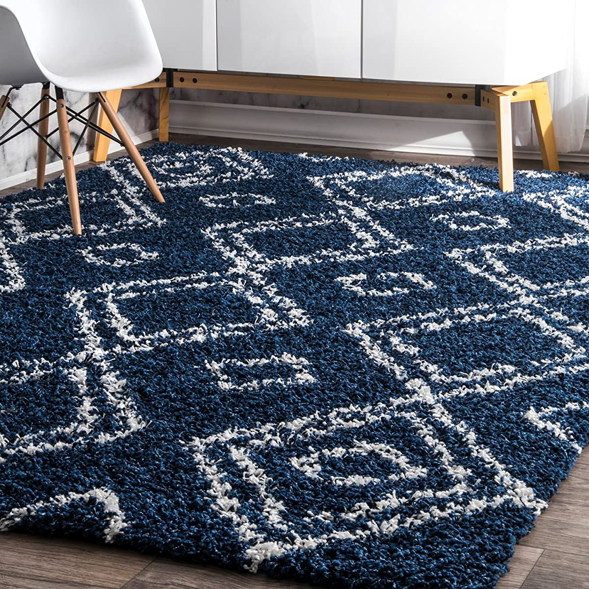 nuLOOM 4 X 6Cozy Soft and Plush Moroccan Trellis Iola Easy Shag Indoor Area Rug, Blue