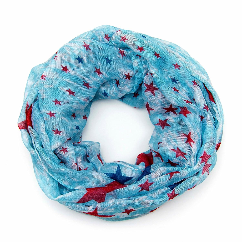MANUMAR Loop-Schal für Damen   Hals-Tuch mit Sterne Motiv als perfektes Herbst Winter Accessoire   Schlauchschal   Damen-Schal   Rundschal   Geschenkidee für Frauen und Mädchen