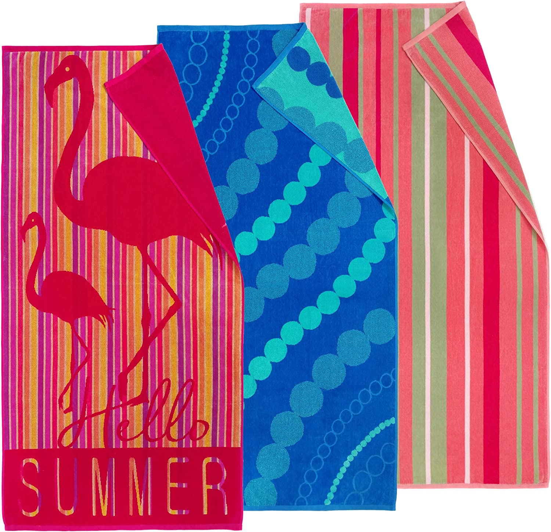 Kaufman - Premium Velour Oversized Double Jacquard Reversible Beach Towel