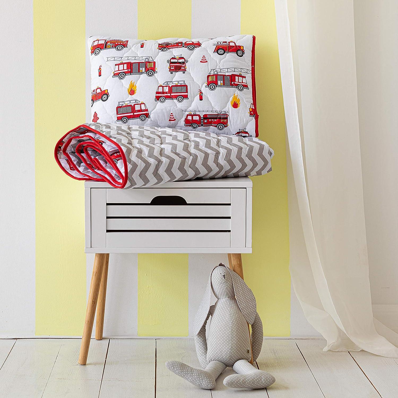 Cotton Bunny Toddler Comforter & Quilted Sham - Premium 100% Cotton (Fire Trucks)