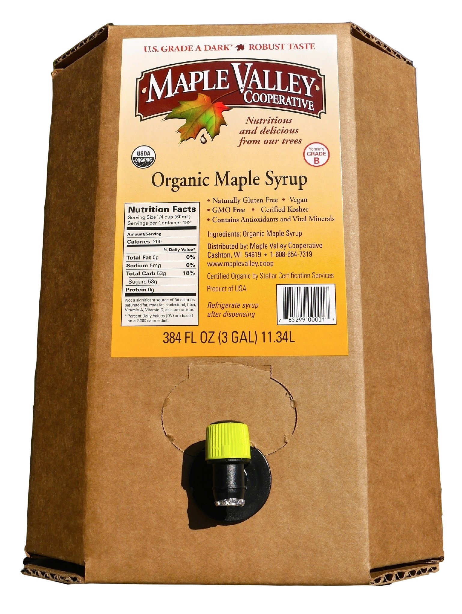 Maple Valley Organic Grade A Dark Robust Maple Syrup (Formerly Grade B) 3-Gallon Bag-In-Box by Maple Valley