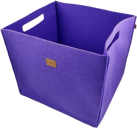 Venetto Lot De 3 Boites Feltbox Faite A La Main Boite De Rangement En Feutre Panier Caisse En Feutre Boites Pour Ikea Etagere Coffre Sous Sol Panier De Rangement 3 Pieces X Large Violet