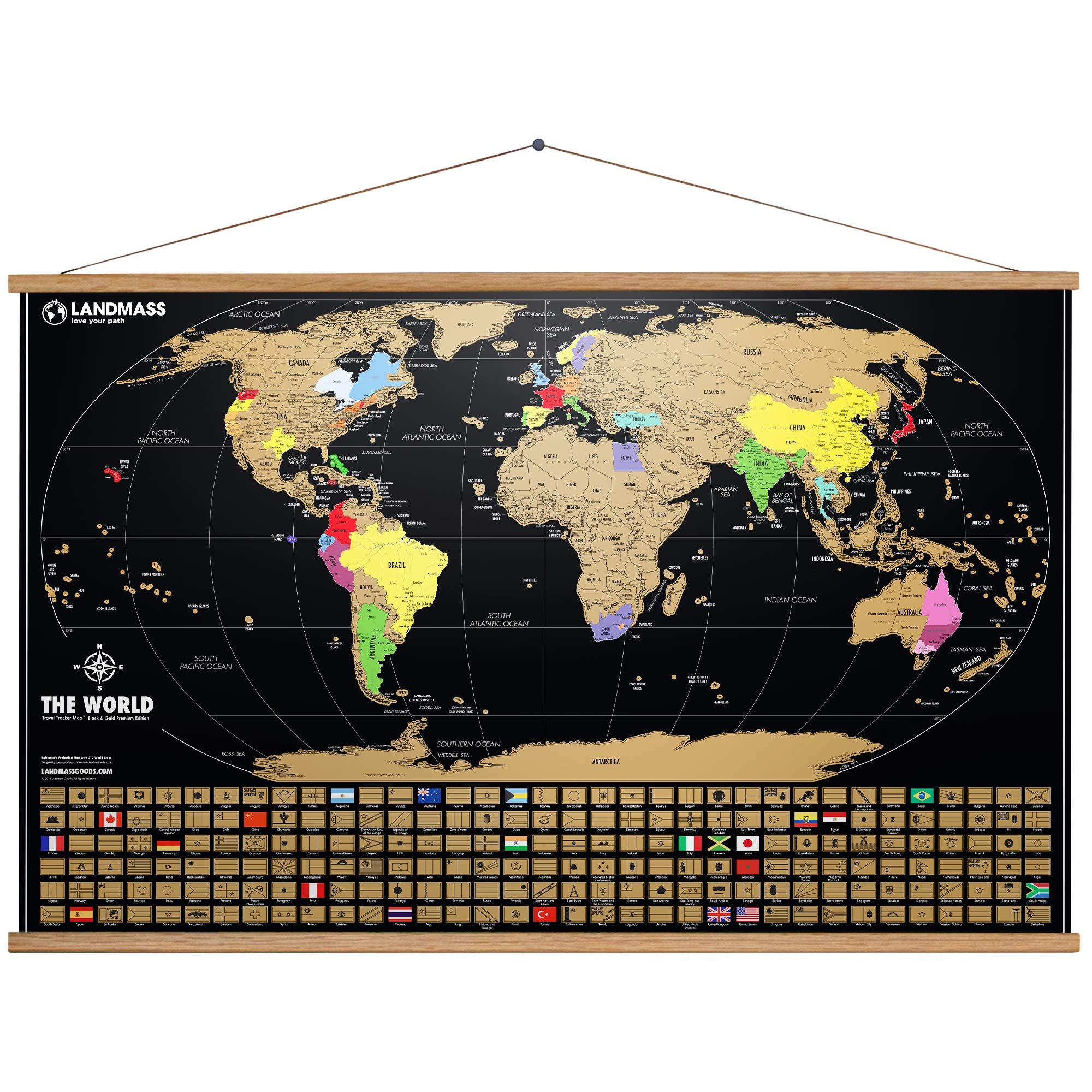 Landmass Extra Large Scratch Off Map of The World with Frame - 24 x 36 World Map Poster - Made in The USA - Travel Map - 36 Inch Wide Frame Included - The Perfect Gift for Travelers by Landmass Goods
