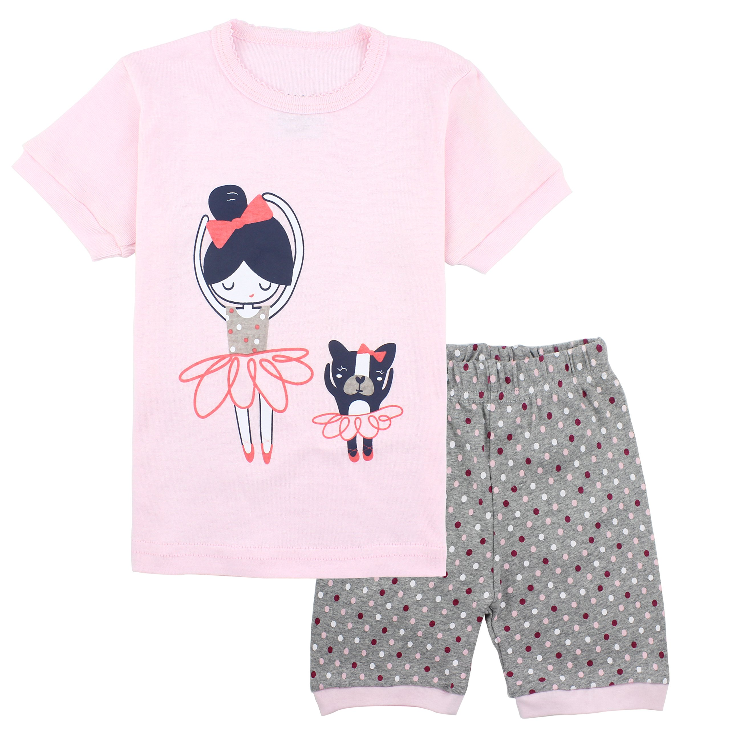 Pajamas for Girls Toddler Shorts Summer Clothes Pink Puppy Sleepwear Children PJS Set Size 5